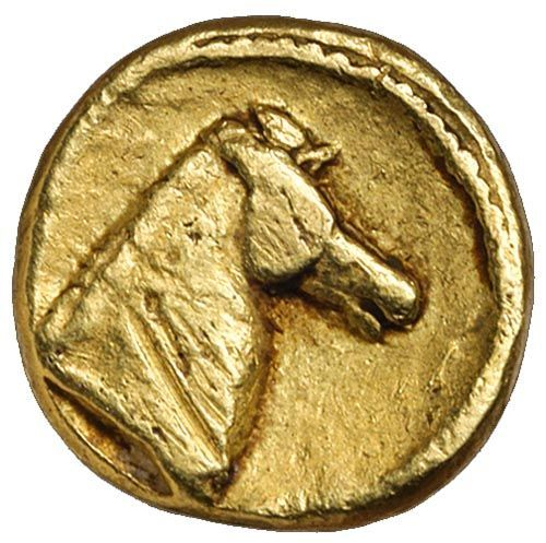 ZEUGITANIA, Carthage, (c.350-320 B.C.), electrum tenth stater... Click VISIT to see 10,000+ Gold Coins at MAD On Collections. Please feel free to pin or share this coin. #GoldCoins