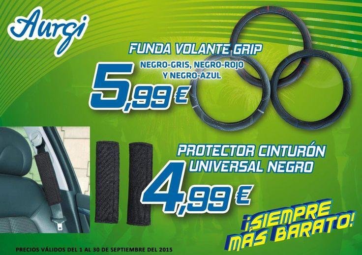 Oferta Funda de volante y Protector de cinturón (Válido del 01 al 30 de septiembre 2015). Más información en www.aurgi.com/