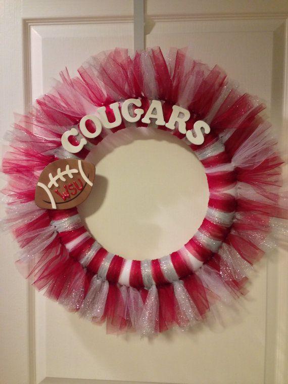 Washington State Cougars Tulle Wreath by CrimsonandLace on Etsy, $35.00