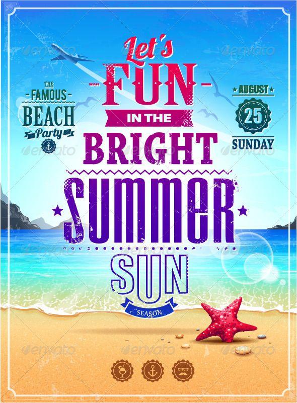 Graphic River Summer Retro Poster 4762608