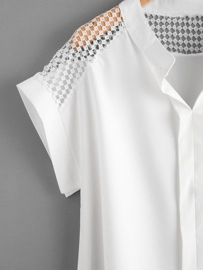 Hollow Out Lace Panel Dip Hem Blouse -SheIn(Sheinside)