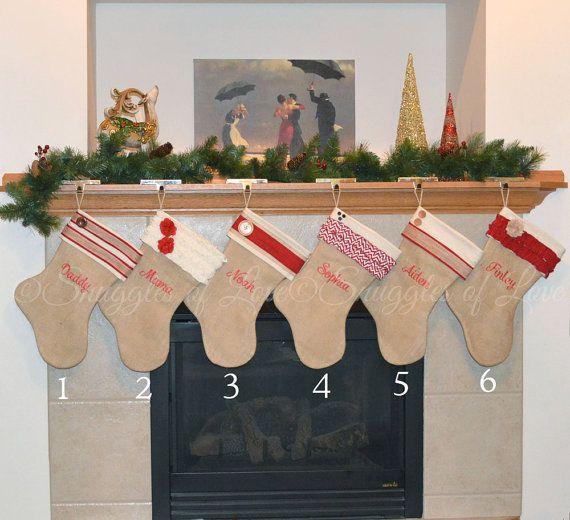 Personalized Burlap Christmas Stocking by SnugglesofLove on Etsy