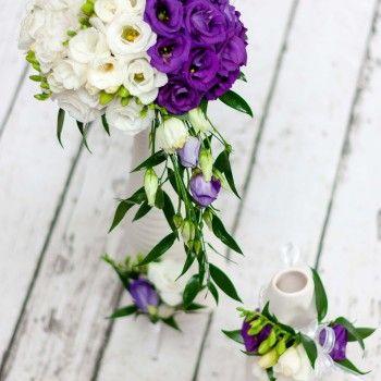 bukiet ślubny biały fiolet eustoma