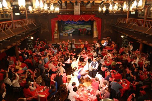 Hoop-Dee-Doo Musical Revue sit-down dinner show at Fort Wilderness Resort & Campground. Show Times: 5:00PM, 7:15PM and 9:30PM. About $65/each w/ unlimited food & drinks (sangria, beer, soda)