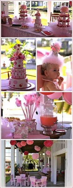 First Birthday ideas: I need to get a fancy drink dispenser like that one. two-cute-birthday-ideas