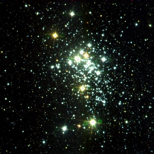 At a distance of between 12,000 and 16,000 light years away in the constellation Ara, Westerlund 1 is not only the biggest star cluster in the Milky Way, but in our entire Local Group of galaxies. This cluster is packed with big, rare, high mass stars, including Westerlund 1-26, a red supergiant, one of the largest stars known. Size estimates put it between 1,530 and 2,544 solar radii. If it lies within the upper range, it would be the largest star ever discovered.