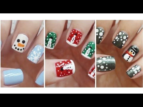 ▶ Snowman Nail Art ❄ Three Easy Designs!!! - YouTube