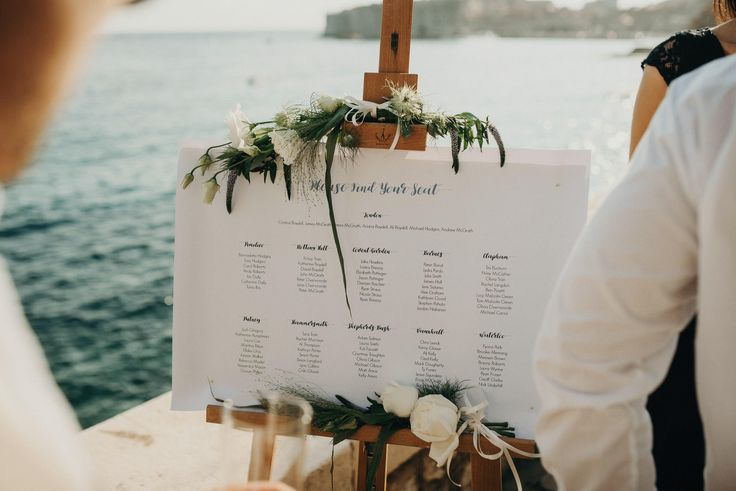 Hotel Excelsior | Dubrovnik | Croatia | Destination Wedding |  Outdoor Terrace | Seating Chart | Table Plan | Wedding Seating Plan | Seaside Wedding