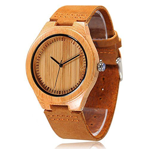 Just arrived CUCOL Men's Bamboo Wooden Watch with Brown Cowhide Leather Strap Japanese Quartz Movement Casual Watches