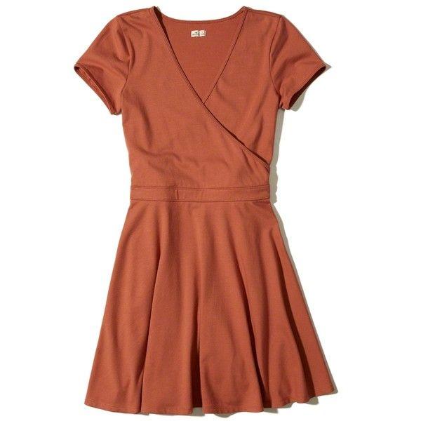 Hollister Cap-Sleeve Skater Dress ($40) ❤ liked on Polyvore featuring dresses, vestidos, orange, cap sleeve dress, fit and flare dress, flared skirt, v neck fit and flare dress and orange dress