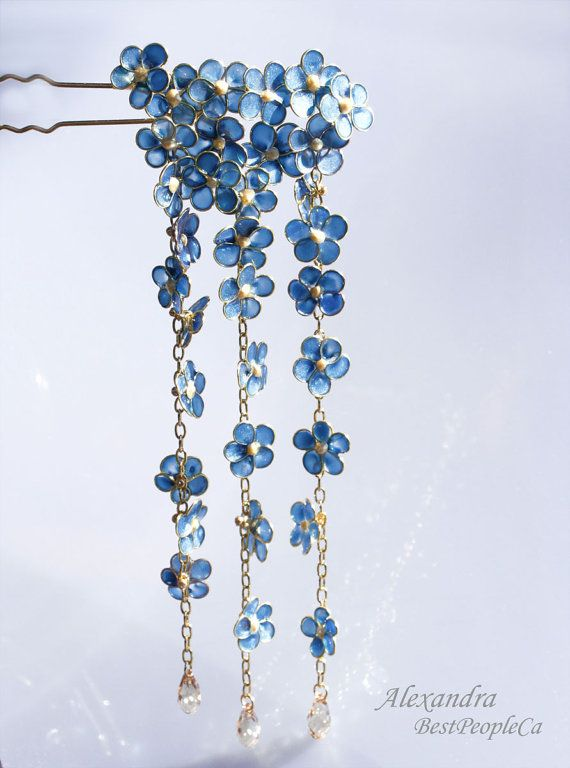Japanese Flower Kanzashi Wire wrapped Blue Sparkling Forget-Me-not Hair Pin