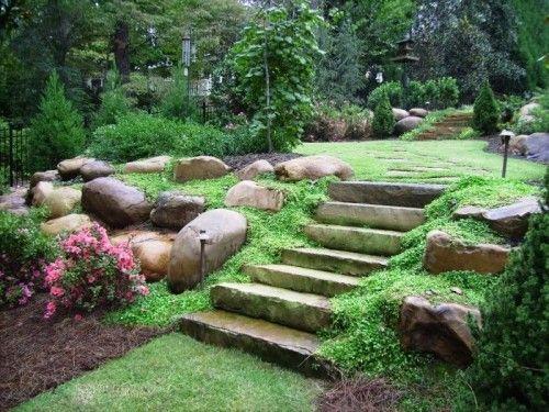 LandscapingSloped Backyard, Stones Step, Landscapes Ideas, Front Yards, Backyards Design, Backyards Ideas, Landscapes Design, Retaining Wall, Backyards Landscapes