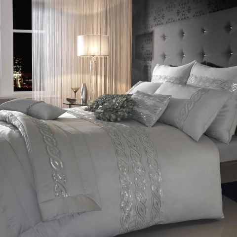 Kylie Sequins Wave Silver Bedding Set A~ Absolutely Gorgeous! <3