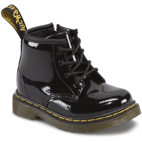 DR. MARTENS Brooklee Toddler shoes ($61) ❤ liked on Polyvore featuring baby, shoes, kids, baby clothes, baby shoes and black patent lamper