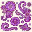 Henna doodle Mehndi Tattoo bunte Vektor-Design-Elemente — Stockilllustration #15857289