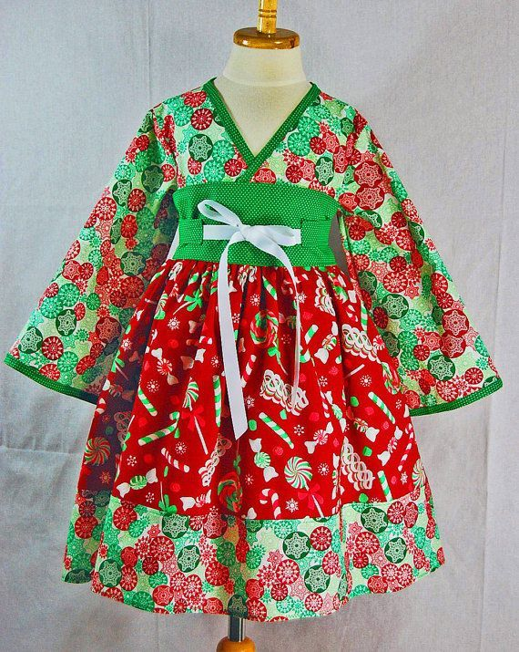 Christmas Dress for Little Girls 3T READY to SHIP by pinkmouse, $44.00.