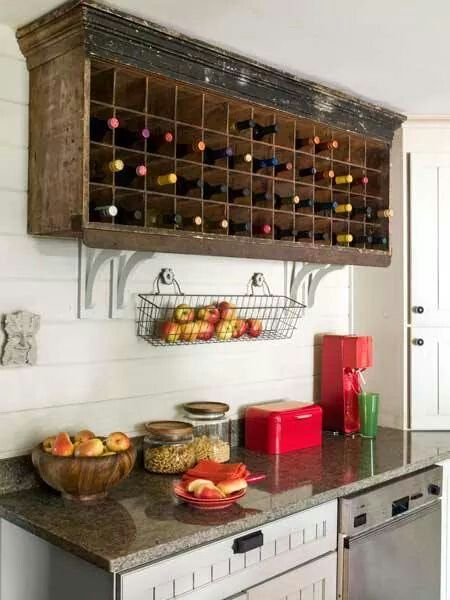 old mail sorter makes a great wine rack