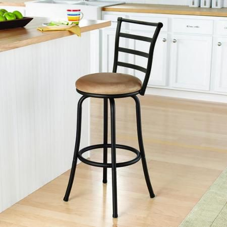 "Mainstays 29"" Ladder Back Barstool with Tan Microfiber Swivel Seat, Black Metal Finish - Walmart.com"
