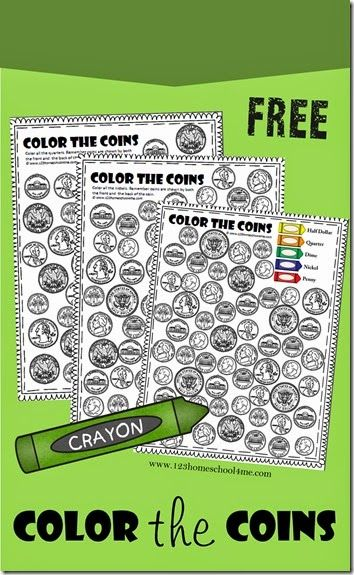 Grab theseFREE Color the Coin Worksheets. They help kids learn to recognize American money: half dollar, quarter, dime, nickel, and penny.  Th