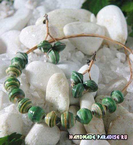 Бусы и серьги из журнальных страниц. Из бумаги можно создать симпатичные оригинальные украшения - бусы, ожерелья, браслеты и сережки в экзотическом стиле