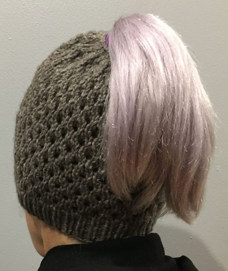 Free Knitting Pattern for Honeycomb Ponytail Hat