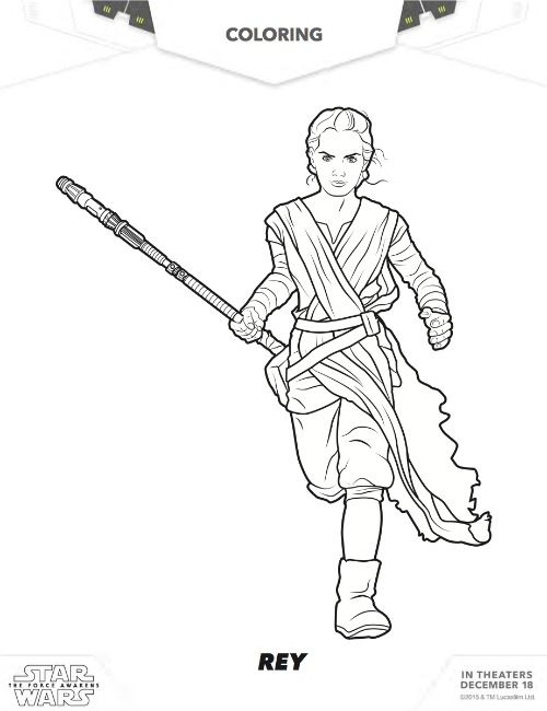 Free Star Wars Coloring Pages Featuring Rey Finn Kylo Ren The Force Awakens Printables