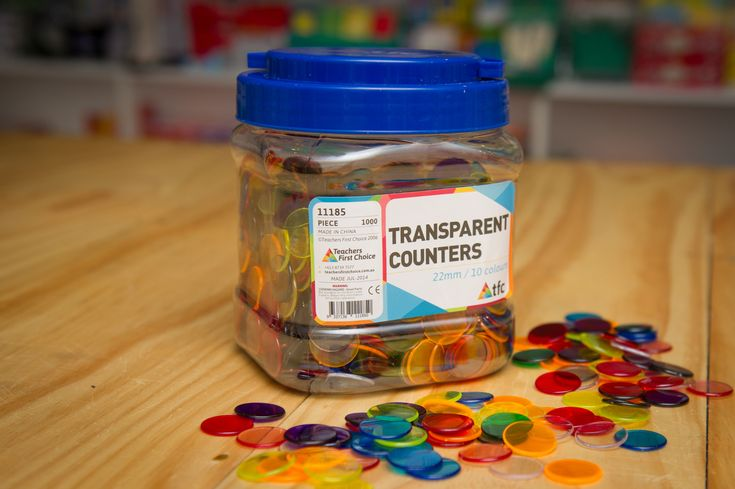 22mm Transparent Counters (10 assorted colours). Come in jar of 1000.