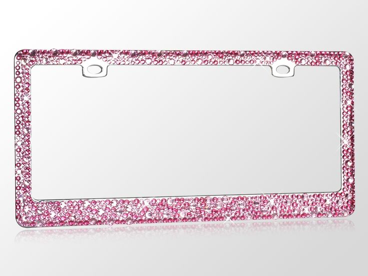 Pink Rhinestone Crystal Auto License Plate Frame Girly Bling