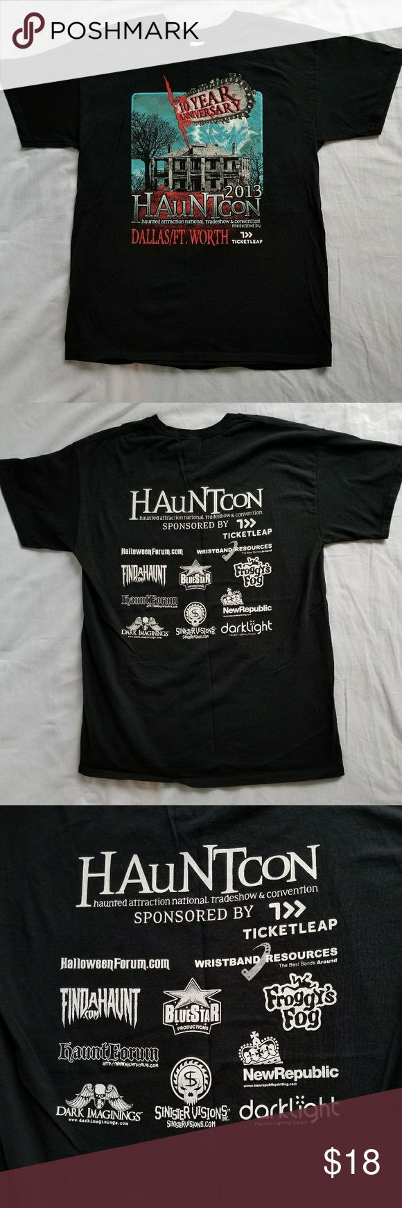 Dallas HAUNTCON Black Tee Men's Halloween New L 10th Anniversary 2013 Dallas HAUNT-CON black t-shirt men's size large with haunted house mansion on front. Shirts were made for the Dallas Haunt Convention several years ago, and this design is no longer being sold. Great shirt for Halloween.   T-shirt is in excellent, new without tags condition. Since these shirts were sold at the convention, they did not come with hanging tags.  All of my items come from a very clean, pet, and smoke-free…