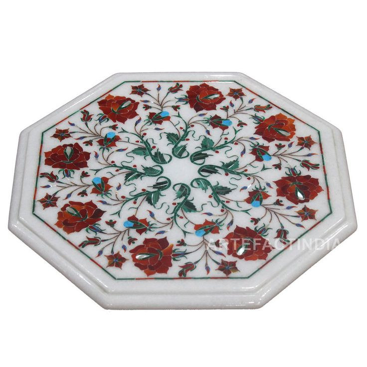 Modern End Table 16th Century Pietra Dura Stones Craft Work On White Marble Table Top