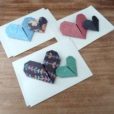 3 cartes coeur origami voeux f licitation remerciement faites main style vintage. Black Bedroom Furniture Sets. Home Design Ideas