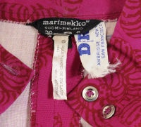 Marimekko  D/R label. Marimekko for Design Research. Design Reseach stores were in Cambridge, Massachusetts, New York City and San Francisco. This dress is also dated, 1962. A lot of information on three labels.