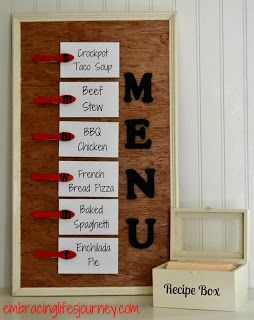 Embracing Life's Journey: Simple Menu Board and Recipe Box
