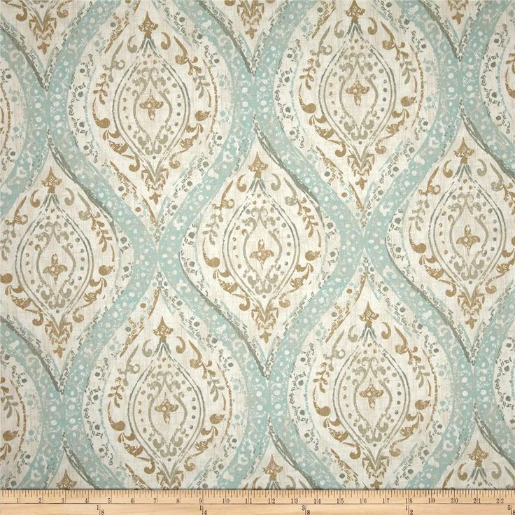 Magnolia Home Fashions Ariana Spa from @fabricdotcom  Screen printed on cotton duck; this versatile, medium weight fabric is perfect for window accents (draperies, valances, curtains and swags), accent pillows, bed skirts, duvet covers, upholstery and other home decor accents. Create handbags, tote bags, aprons and more. Colors include ivory, tan and teal.