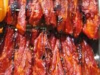Chinese barbeque pork Char siu   Ingredients  Pork butt, boneless -- 2 to 3 pounds  Hoisin sauce -- 3/4 cup  Soy sauce -- 1/2 cup  Rice wine or dry sherry -- 1/2 cup  Honey -- 1/3 cup  Sugar -- 1 tablespoon