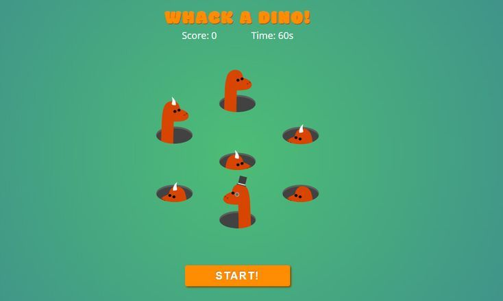 Whack a dino game using HTML, CSS and JavaScript | Front End