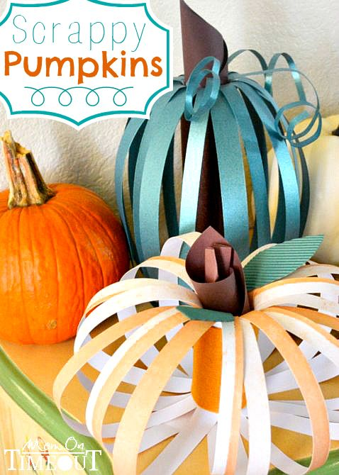 DIY for kids or adults - *Scrappy Pumpkins are a super fun and easy way to decorate your home! With so many great scrapbook designs out there this will be really fun.  You could make them sill, scary or classy. | MomOnTimeout.com