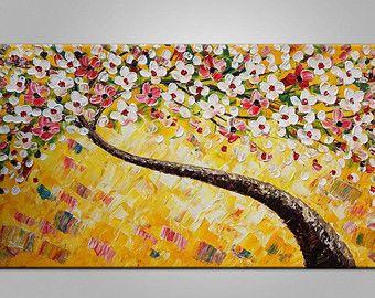 XL grande tela Canvas arte incorniciata Art originale arte astratta arte Impasto Texture spatola arte tela pittura fiore albero dipinto