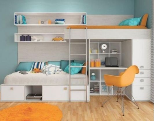 Bright Bedroom with Space-saving Loft Bed
