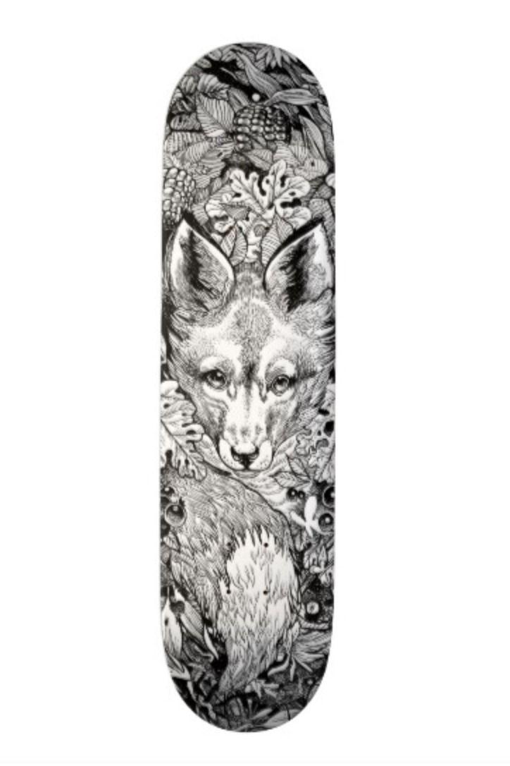 Black And White Fox Nature Skate Deck Skateboard Zazzle Com Skate Decks Skateboard Deck Art Skateboard Design