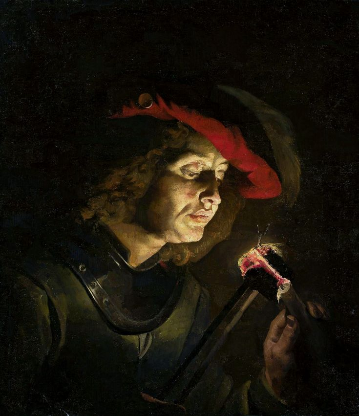 Soldier lighting a candle by Matthias Stom, 1630s (PD-art/old), Muzeum Narodowe w Warszawie (MNW)