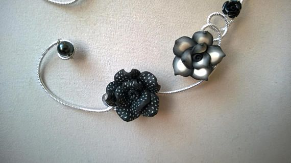 Open necklace Wire necklace Black necklace Flower necklace