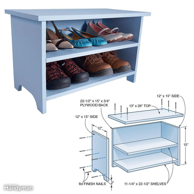 Build this handy stool in one hour and park it in your closet. You can also use it as a step to reach the high shelf. All you need is a 4 x 4-ft. sheet of 3/4-in. plywood, wood glue and a handful of 8d finish nails. Cut the plywood pieces according to the illustration. Spread wood glue on the joints, then nail them together with 8d finish nails. First nail through the sides into the back. Then nail through the top into the sides and back. Finally, mark the location of the two shelves and…