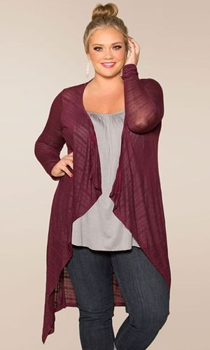 Our sponsored plus size fashion find of the day is the Jamie knit cardigan from Swak Designs.      It's an essential long, light-weight knit sweater cardigan that's virtually season-less in possibility!  More about the Jamie knit cardigan:   	Long sleeves 	Calf-skimming length 	Light, ...