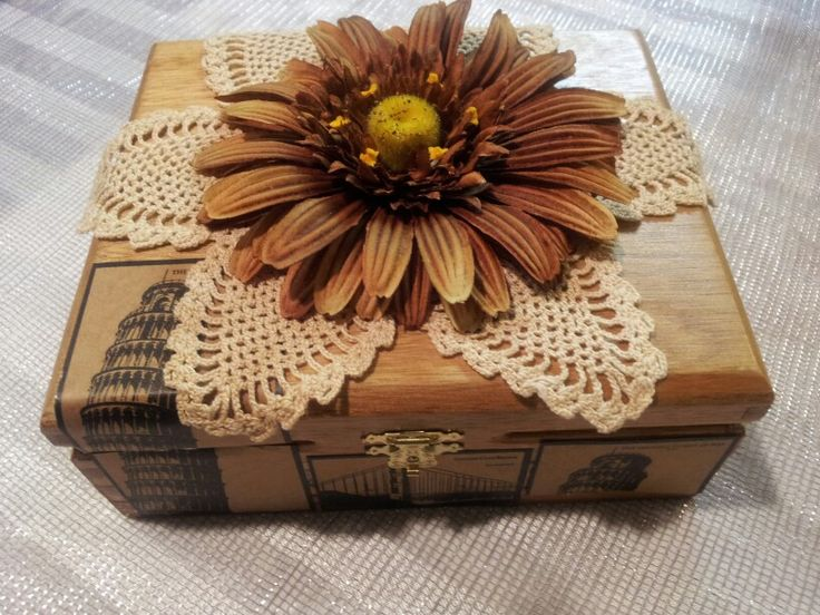 Repurposed wooden cigar boxes to jewelry or keepsake boxes.