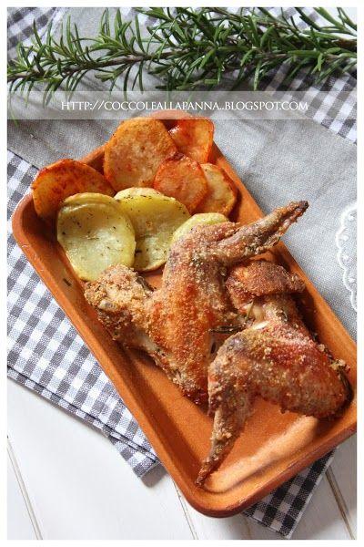 Ali di pollo impanate e chips di patate alle erbe e tandoori masala
