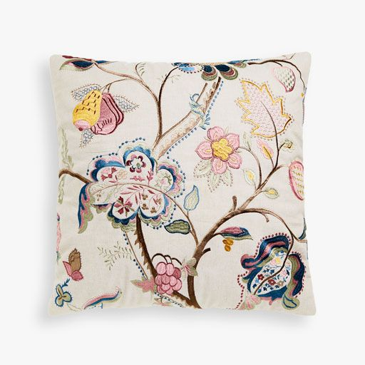Image of the product MULTICOLOURED CUSHION COVER WITH FLORAL EMBROIDERED CENTRE