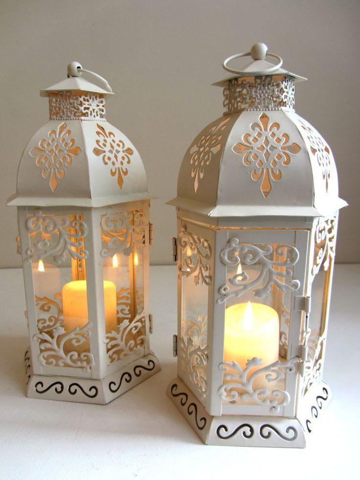 27CM TALL SHABBY CHIC CREAM CANDLE LANTERN WEDDING LIGHTS
