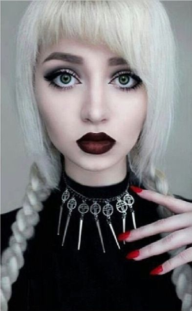 white hair, black cherry lipstick, and sage green eyes posted by dropdeadkidz on instagram Fringe !!!!