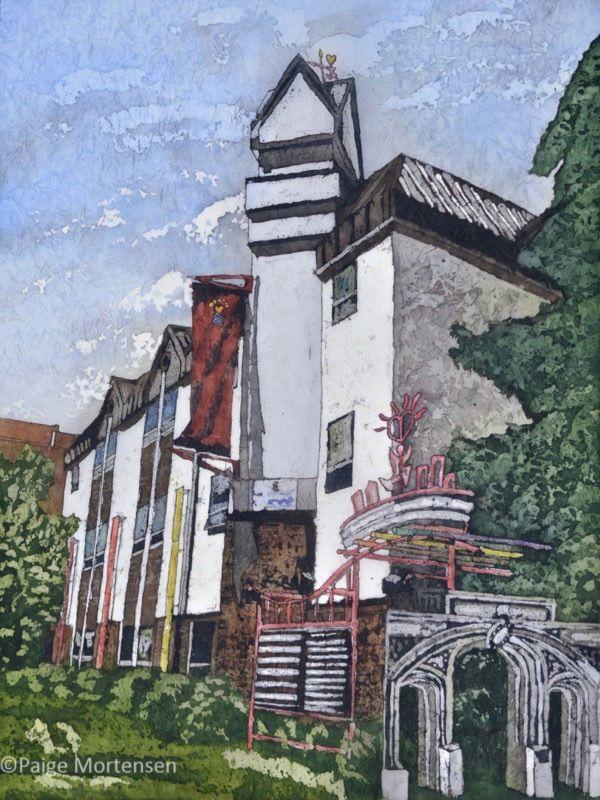 """Building Community ©Paige Mortensen 18x24"""" Watercolour Batik"""